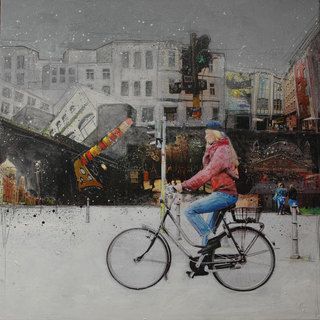 """Berlin"" mixed media, canvas, 100 x 100 cm ...mrs more (stefanie ramsel)"