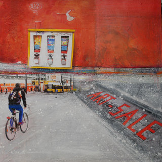 """ART SALE - Berlin"" mixed media, canvas, 100 x 100 cm ...mrs more (stefanie ramsel)"