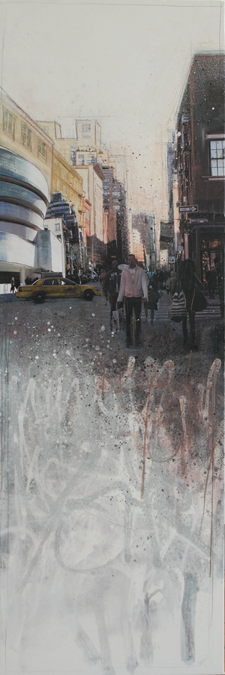 """NYC"" mixed media, canvas, 50 x 150 cm ...mrs more (stefanie ramsel)"