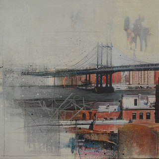 """NYC"" mixed media, canvas, 70 x 70 cm ...mrs more (stefanie ramsel)"