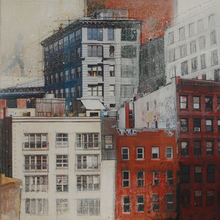 """NYC"" mixed media, canvas, 70 x 70 cm"